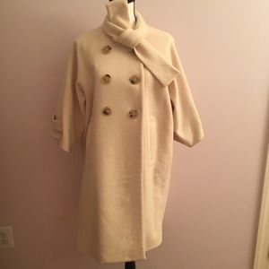 Theory cocoon Jackie o wool beige white wrap coat